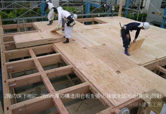 床下地に構造用合板を張り、床を固める剛床設計