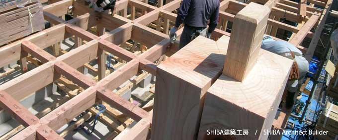 頑丈な木構造の骨組み